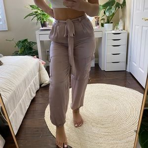 LAVENDER MISSGUIDED x CARLI BYBEL SATIN PANTS